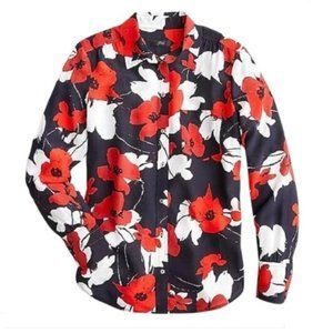 J.Crew Silk Shirt in Navy Poppy Floral